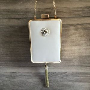 White Satin Gold Chain Evening Clutch
